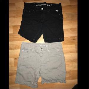 2 pairs of shorts: gray and black